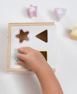 Ξύλινο παιχνίδι ταξινόμησης σχημάτων, ροζ 1