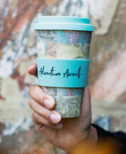 bamboo vintage map collage cup