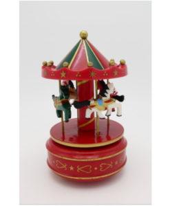 Ξύλινο Carousel αλογάκια με κουρδιστό μουσικό μηχανισμό