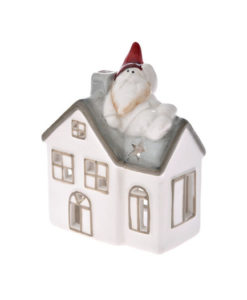 Κεραμικό χριστουγεννιάτικο σπιτάκι γκρί-λευκό