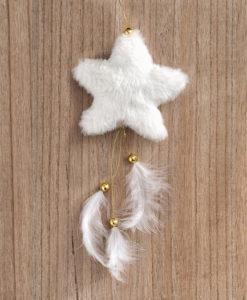 Κρεμαστό γούνινο Αστέρι άσπρο