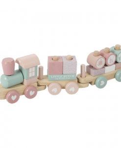 Ξύλινο τρενάκι με άσκηση λεπτής κίνησης ροζ - Little Dutch